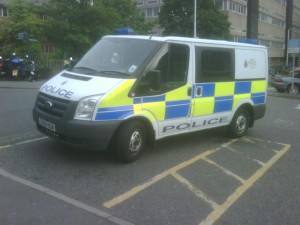 Police van in a disabled=