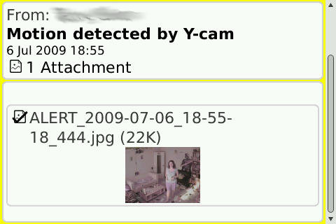 An email alert on a BlackBerry. Thumbnail image fills the screen when clicked