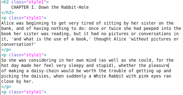Alice's Adventures in HTML