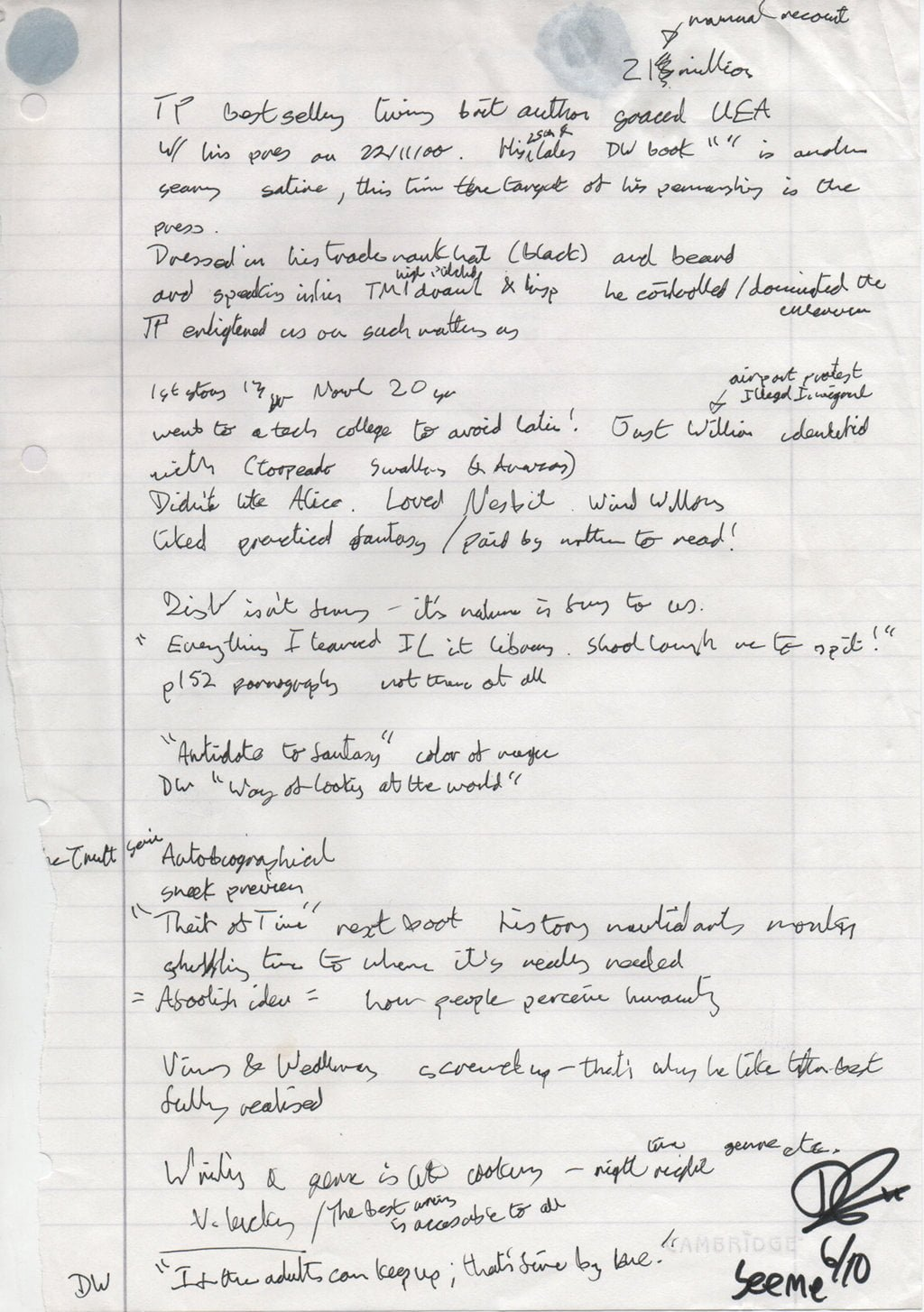 Hand scribbled notes from an interview with Terry Pratchett.