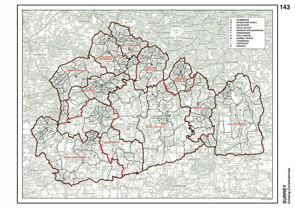 A Detailed Map of Surrey