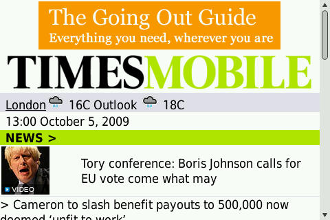 The Times - Mobile Front Page