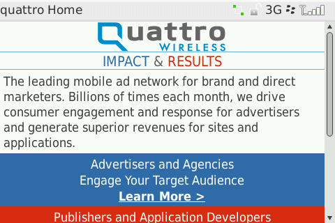 Quattro Wireless's mobile page
