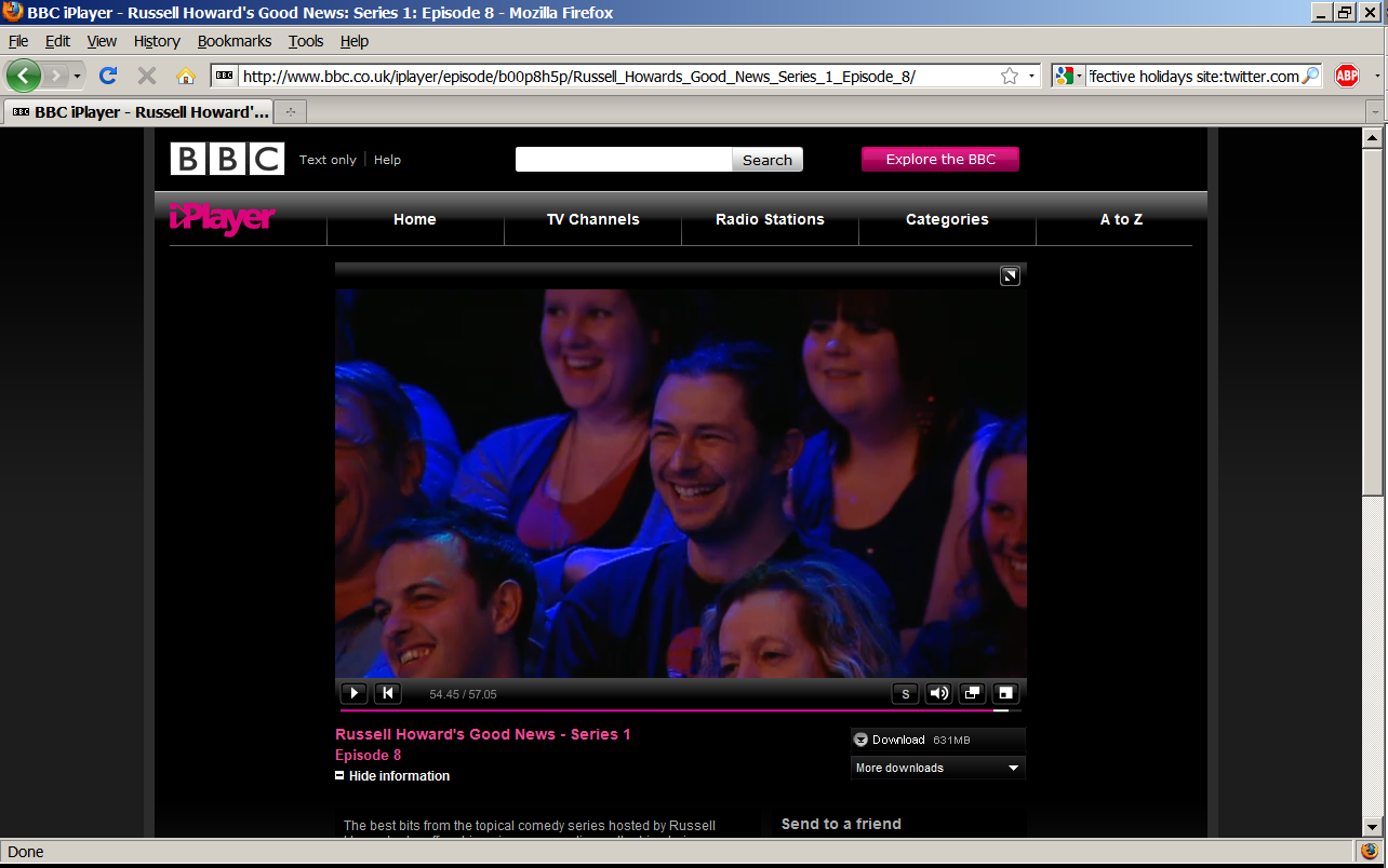 Terence Eden in the audience of a TV show. He is laughing.