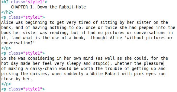 Alice's Adventures in HTML