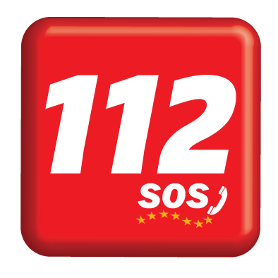 A bright red button with 112 written on it