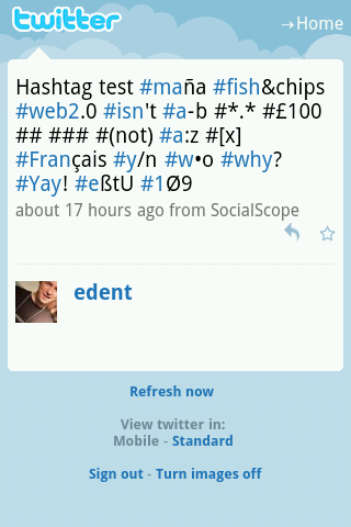 Mobile.Twitter's hashtags