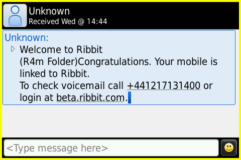 Ribbit Welcome SMS