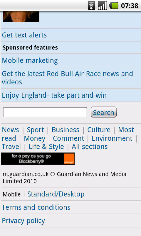 Orange Advert on Guardian