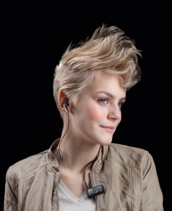 Model wearing Jabra Clipper