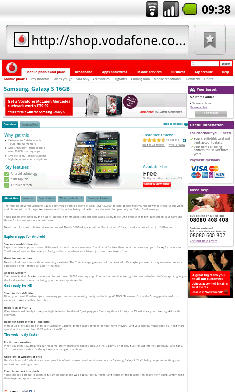 Vodafone's non-mobile website