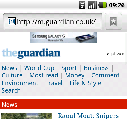 Advert for GalaxyS on Guardian Mobile site