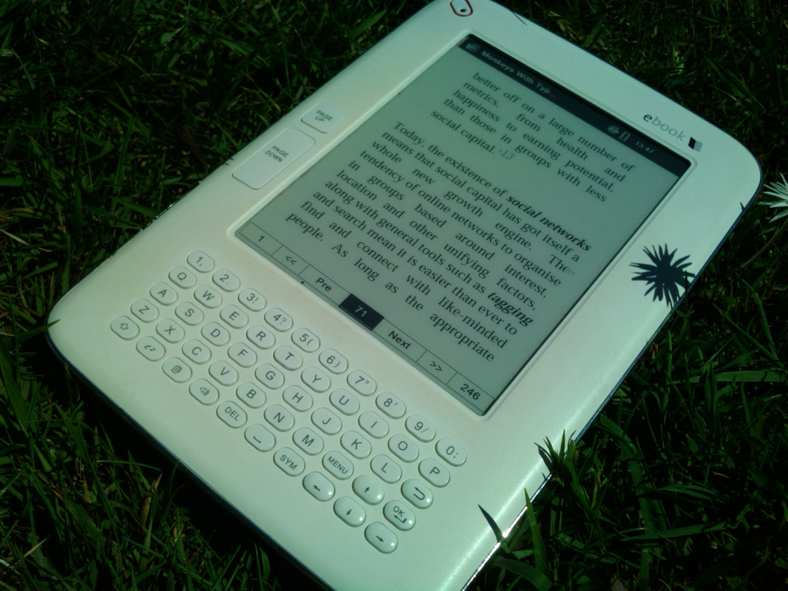 An ebook in a patch of grass