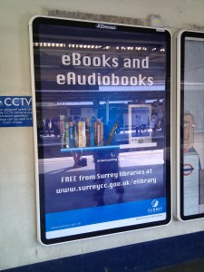 Poster advertising Surrey's digital library service