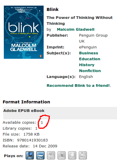"Only one copy of ""Blink"""
