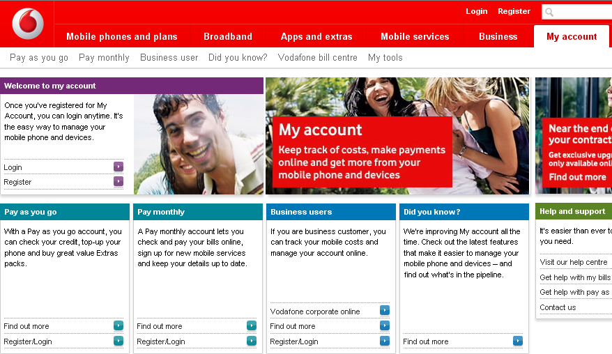 Vodafone's My Account Facility