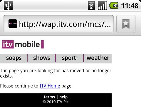 ITV's Mobile Site - Error