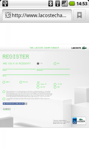Lacoste Register Screen