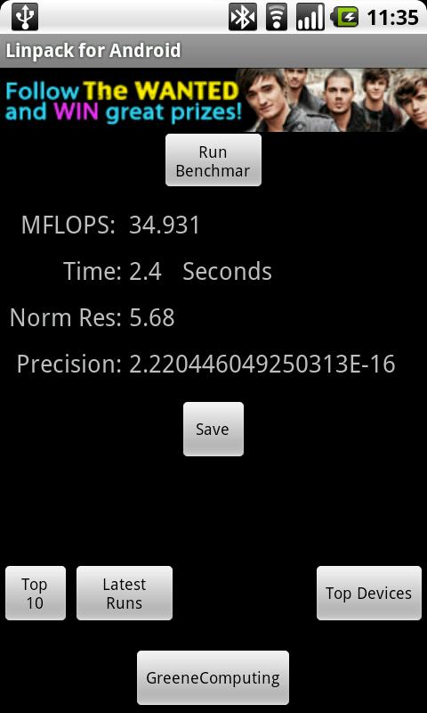 Linpack on Android - 35MFLOPS