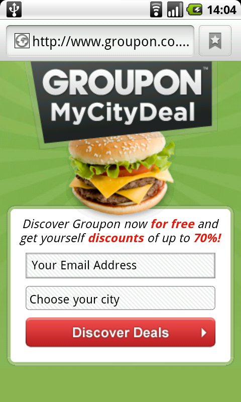 The Groupon mobile friendly website