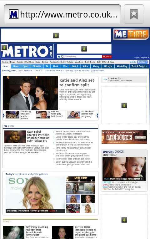 Metro website viewed on a phone