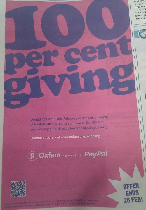 Oxfam QR Newspaper Advert