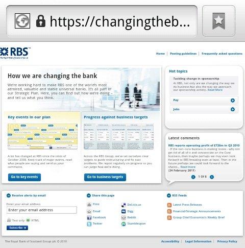 RBS non-mobile website