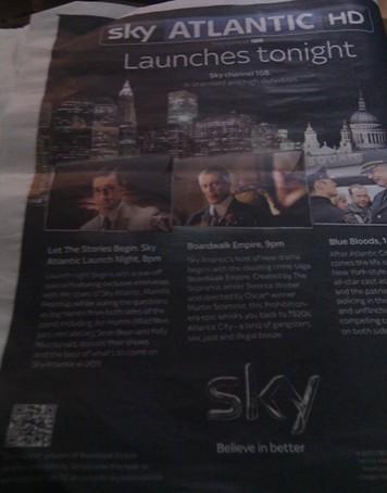 Sky Atlantic Newspaper Advert