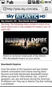 Sky HD Mobile site