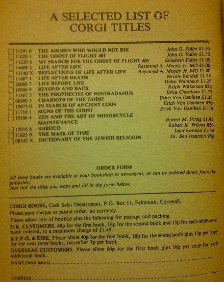 Corgi Paperback - titles for sale on back page