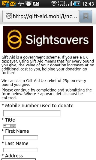 Gift Aid mobile site