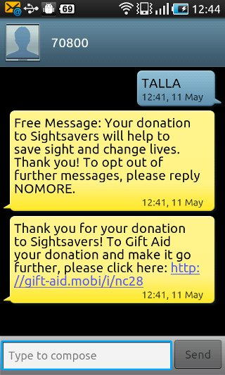 Gift Aid sms