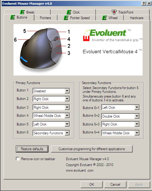 Evoluent Mouse Buttons GUI