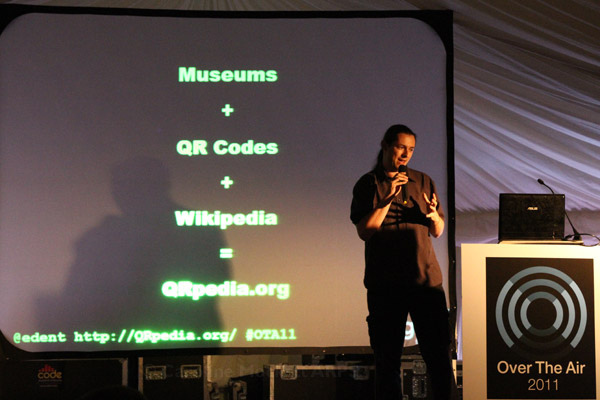 Terence presenting QRpedia at OTA11