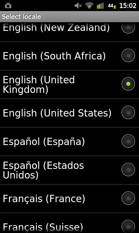 Phone showing list of languages