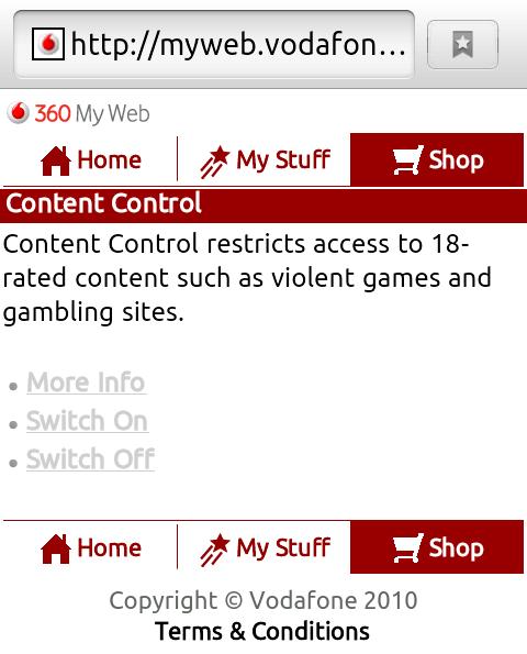 Vodafone Content Control mobile