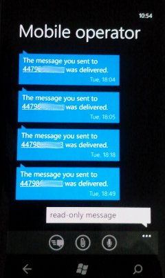 WP7 Lumia SMS Read receipt