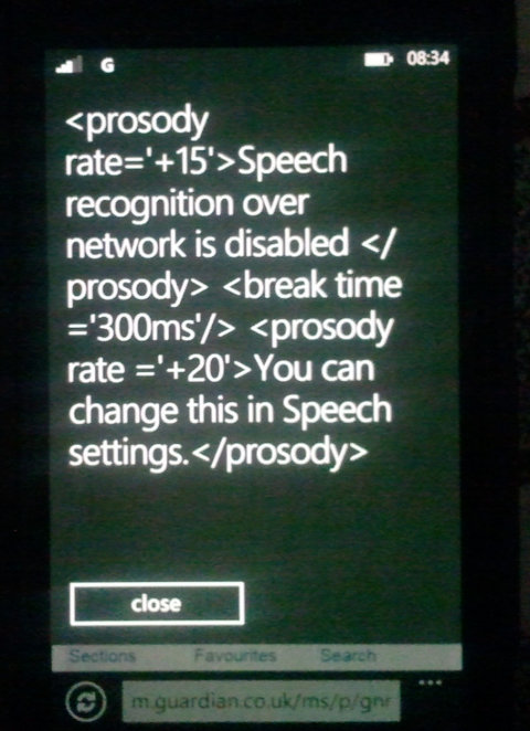 WP7 Voice Recognition Error