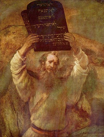 A painting of Moses Breaking the Tablets of the Law (1659) by Rembrandt