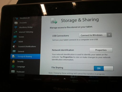 PlayBook file sharing setup