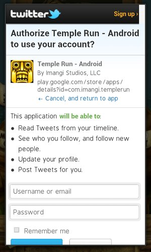 Temple Run Twitter OAuth