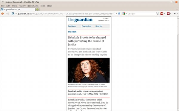 guardian mobile on desktop