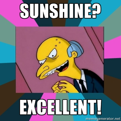 """Mr Burns from the Simpsons - he is saying """"Sunshine? Excellent!"""""""