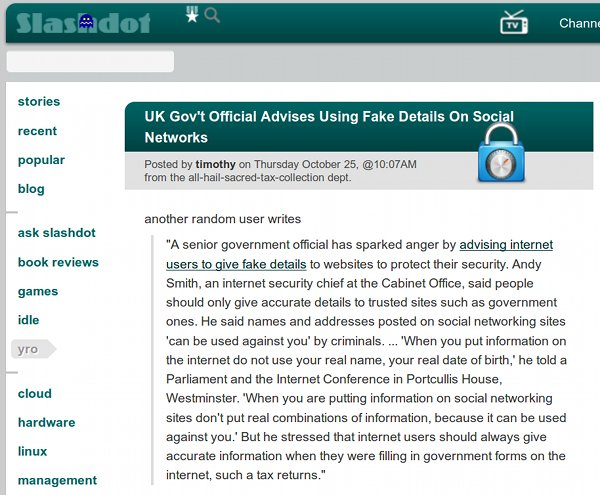 Slashdot fake details
