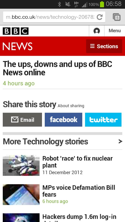 A screenshot of the BBC News mobile site - information is missing from the page