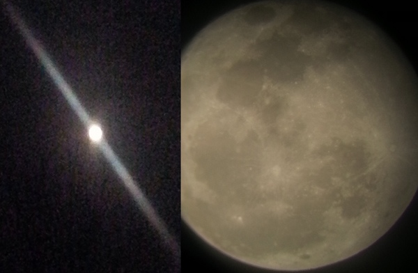 Comparing moon with and without scope