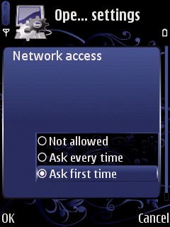 Network access. Ask every time, disallow, ask first time?