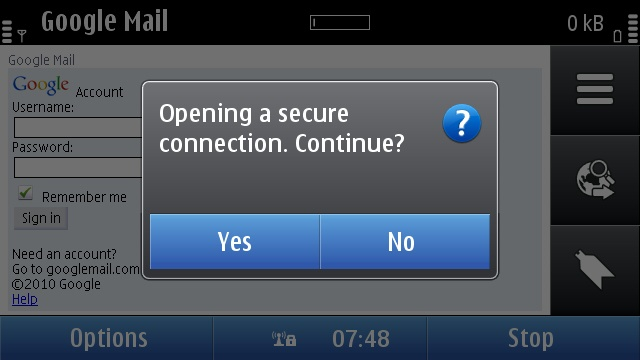 Symbian Secure Connection prompt