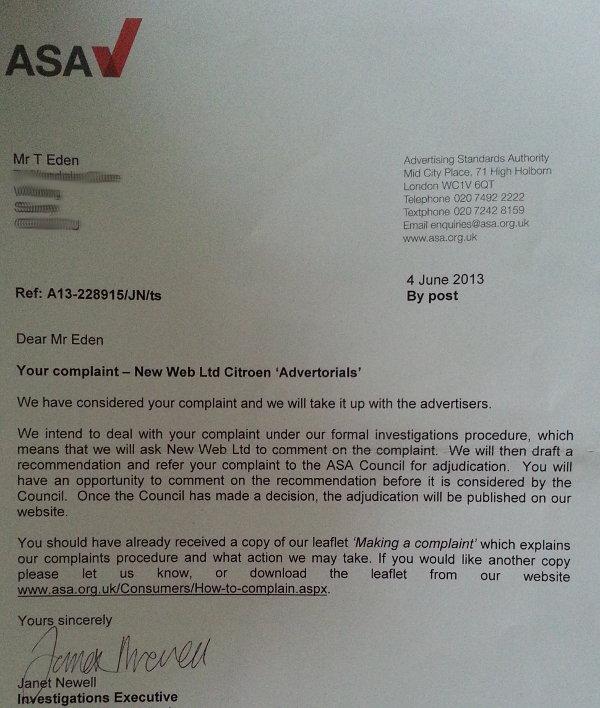 New Web ASA Complaint