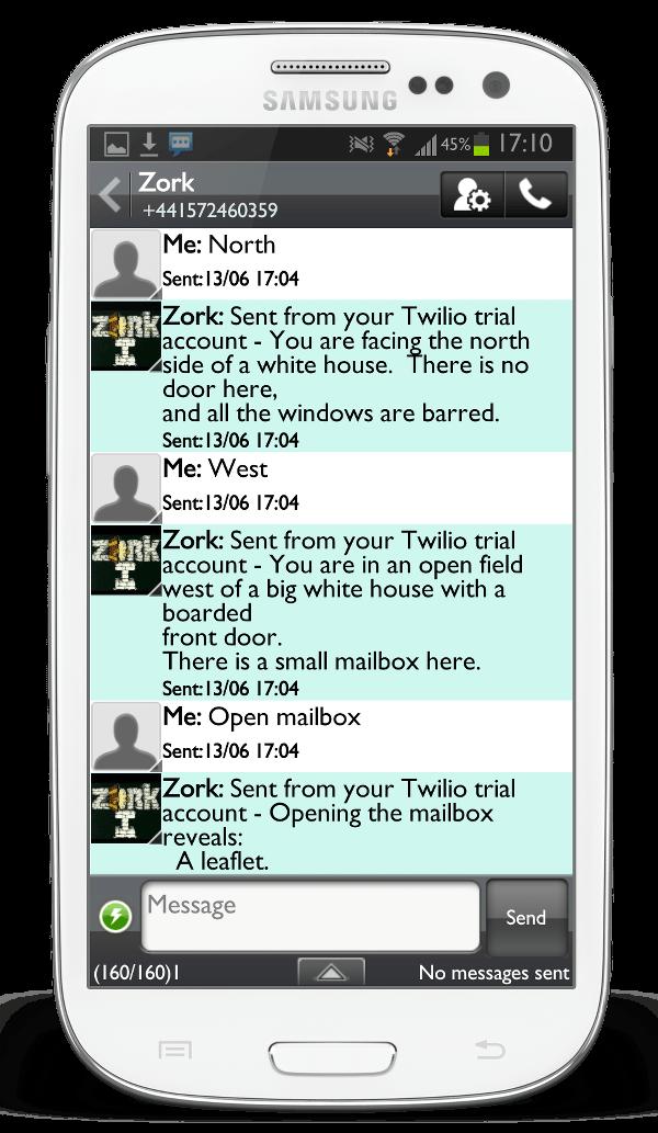 Twilio Zork SMS